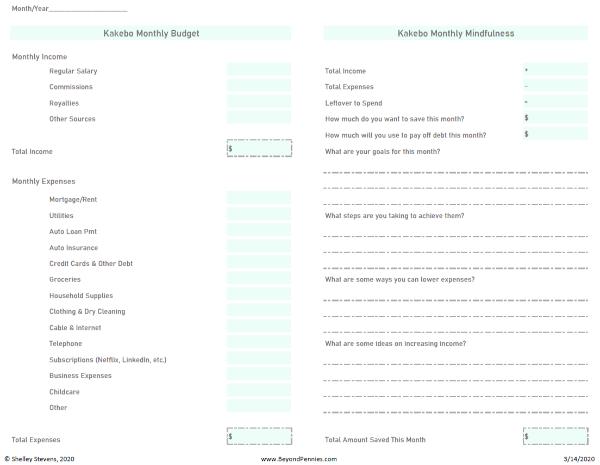 Free Kakebo Worksheet Screenshot