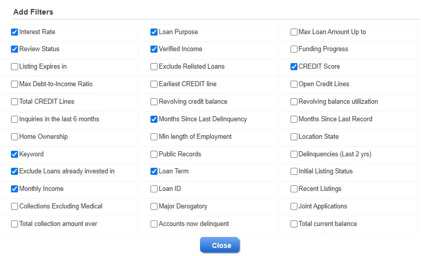 Lending Club Manual Trading - Available Filters