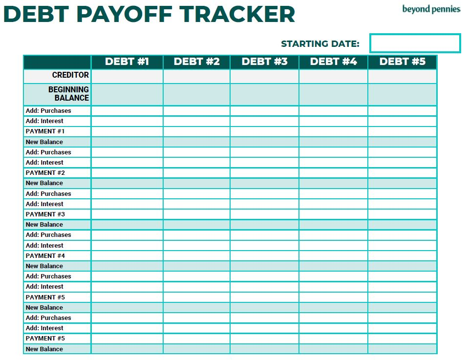 Debt Payoff Tracker Worksheet