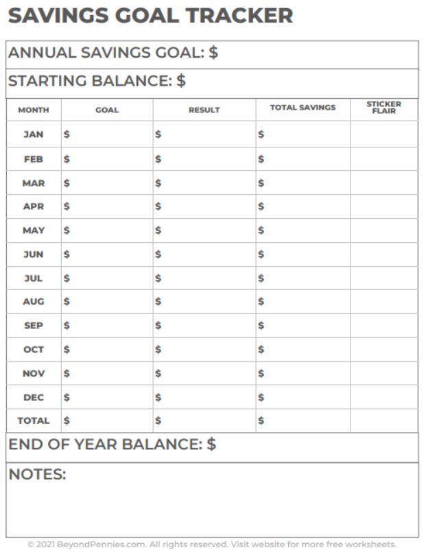 Savings Goal Tracker Worksheet